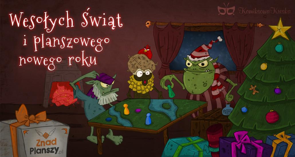 Dawid jest też autorem specjalnej kartki świątecznej, którą zrobił dla ZnadPlanszy.pl w roku 2013